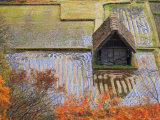 Farm Outbuilding Surrounded by Ploughed Rice Fields Close to Gokayama Fotografisk tryk af Michael Gebicki