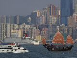 Sightseeing Junk on Victoria Harbour with Causeway Bay High-Rise in Background Photographic Print by Manfred Gottschalk