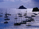 Yachts and Les Gros Islets Silhouetted Against the Caribbean Sea Photographic Print by Richard I'Anson