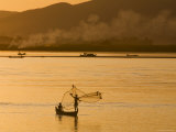 Fisherman Casting Net on Ayeyarwaddy River Photographic Print by Tim Hughes