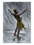 African Native Shaman Invoking Rain in the Valley of the Congo, 1800s Giclee Print