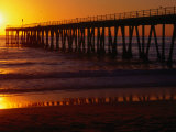 Golden Sun Sets over the Water and Pier at Hermosa Beach Photographic Print by Christina Lease