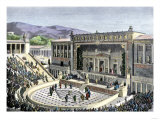 Performance at the Theatre of Dionysos in Athens, Ancient Greece Giclee Print