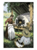 French-Canadian Woman Baking Bread in an Outdoor Oven, c.1900 Giclee Print