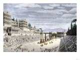 Audience Cheering Charioteersin the Circus Maximus, Ancient Rome Giclee Print