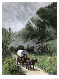 Covered Wagon Coming Through Cumberland Gap on the Wilderness Road on a Misty Morning Giclee Print