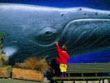 Child Reaches to Stroke a Whale Mural Photographic Print by Fergus Blakiston
