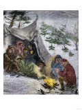 Donner Party Stranded by a Blizzard in the Sierra Nevada Mountains, 1846 Poster