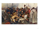 Russian Cossacks Sending a Message of Scorn to the Turkish Army in Constantinople Giclee Print