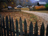 Picket Fence of Early Farm Buildings in Autumn Photographic Print by Rob Blakers