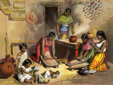 Mexican Women Making Tortillas, 1800s Gicléetryck