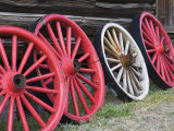 Wagon Wheels in Hell Roarin' Gulch, World Mining Museum, National Historic District Photographic Print by Richard Cummins
