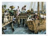 Natives Loading a Schooner with Coconuts at Kingston, Jamaica Giclee Print