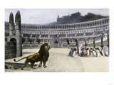 Christian Martyrs Facing Hungry Lions in the Colisseum, Ancient Rome Giclee Print