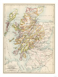 Map of Scotland in the 1520s, Showing Territories of the Highland Clans Stampa giclée