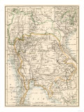 Map of Siam and the Independent Shan States, 1870s Giclee Print