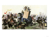 Military Battle Using Armored Elephants and Chariots in the Time of the Roman Empire Giclee Print