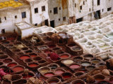 Fes Leather Tannery with its Colourful Wells and Pungent Odor Photographic Print by Kristin Piljay