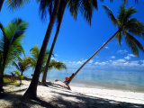 Woman Sunbathing on a Palm Tree on a Tropical Beach in Malaysia Photographic Print by Tim Rock