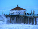 Waves Breaking into the Pier at Manhattan Beach Photographic Print by Christina Lease