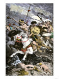 Attila's Huns Ravaging Moravia During Invasion of Central Europe Giclee Print