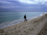 Quiet Stroll on South Beach in Miami Photographic Print by Christina Lease