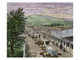 Covered Wagons at the Plaza, the End of Santa Fe Trail in New Mexico Giclee Print