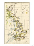 Map of Territory Controlled by Celts, Picts, Anglos, Saxons, and Other Tribes in Britain in 597 Ad Giclee Print