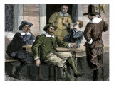 Puritans Drinking from Pewter Mugs in Colonial Massachusetts Giclee Print