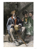 African-American Family Eating Hoe-Cake and Clabber in a Cabin Giclee Print