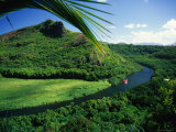 Overlooking the Wailua River and as it Winds Past a Hill Photographic Print by Ann Cecil