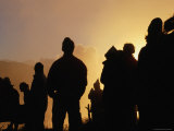 Poon Hill Spectators Silhouetted at Sunrise in the Kali Gandaki River Valley, Annapurna Region Photographic Print by Lindsay Brown