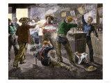 Saloon Brawl in a Cattle Town, Western U.S Giclee Print
