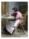 Woman Stitching a Patchwork Quilt, 1800s Giclee Print