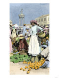 Native Woman Shopping in a Farmer's Market, Jamaica, c.1890 Giclee Print