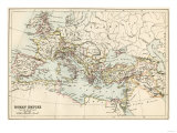 Map of the Roman Empire in the Third Century Giclee Print