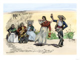 Spanish Californians or Mexicans Dancing the Fandango, 1800s Giclee Print