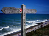 Signpost on North Norfolk Coast Path, at Sheringham Photographic Print by David Else
