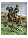 African-American Buffalo Soldier Riding a Frisky Horse Fresh from the Herd, 1880s Giclee Print