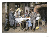 Visiting Pastor Having Dinner with an African-American Family, 1880s Giclee Print