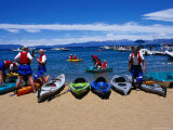 Kayakers Getting Ready to Paddle out into Lake Tahoe Photographic Print by Christina Lease