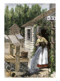 Woman in Cottage Doorway Emptying a Slop Bucket Near a Well Giclee Print