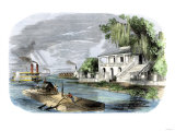 Steamboats and a Raft Passing a Sugar Plantation on the Mississippi River, 1850s Giclee Print