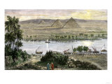 Pyramids at Gizeh, with Dhows on the Nile River in Egypt Lámina giclée