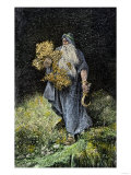 Druid Carrying Mistletoe and a Sickle Giclee Print