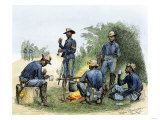Buffalo Soldiers around a Campfire, 1880s Giclee Print