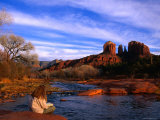Time to Read, Reflect and Relax at Red Rock Crossing in the Distinctive Red-Rock Country Photographic Print by Ann Cecil