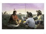 Native American Joining Cowboys at their Campfire, Late 1800s Wydruk giclee