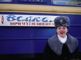 Prodvodnista Standing in Front of No 9 and 10 Baikal Train Photographic Print by Simon Richmond