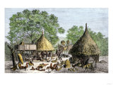 Daily Life in an African Village in the Congo Basin Giclee Print